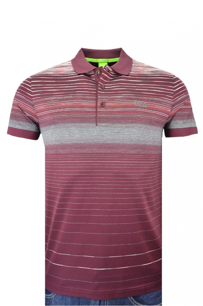 Hugo Boss Green Paddy 3 Multi Stripe Slim Fit Polo Shirt