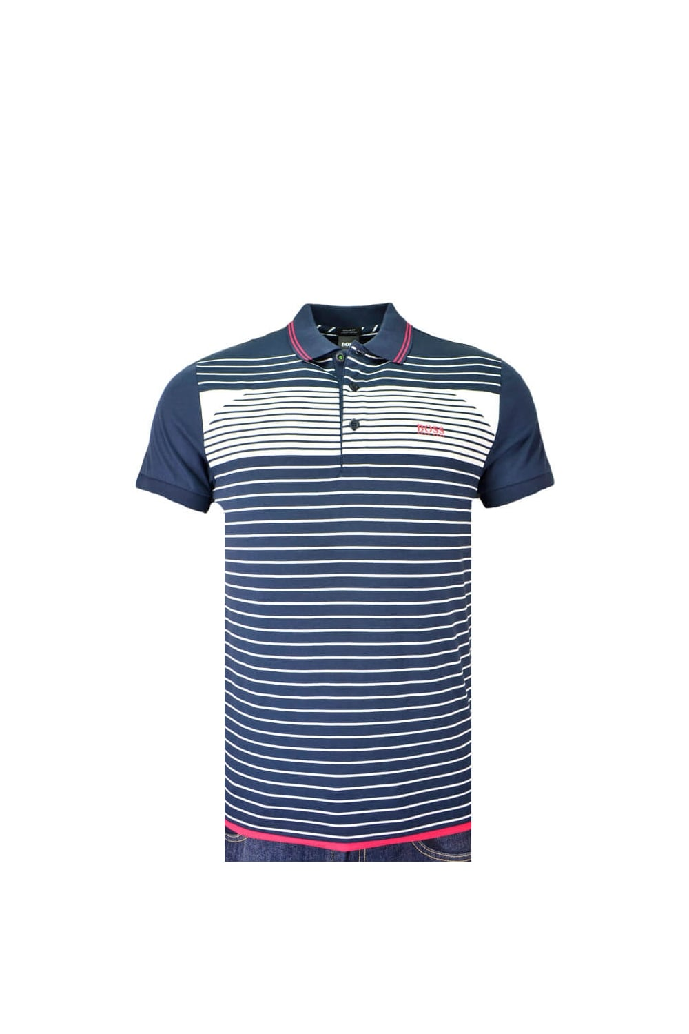 54c9d7c6e Hugo Boss Green Paddy 5 Polo Shirt Navy/White Stripe - Clothing from ...