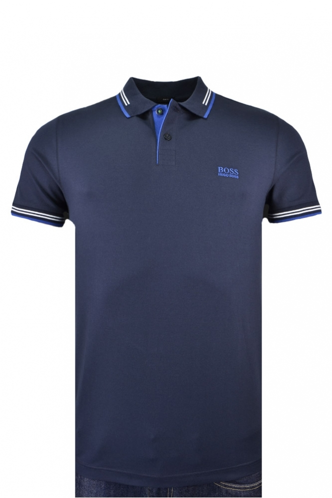 8d2e2078d Hugo Boss Green Paul Slim Fit Polo Shirt Navy/Blue - Clothing from ...