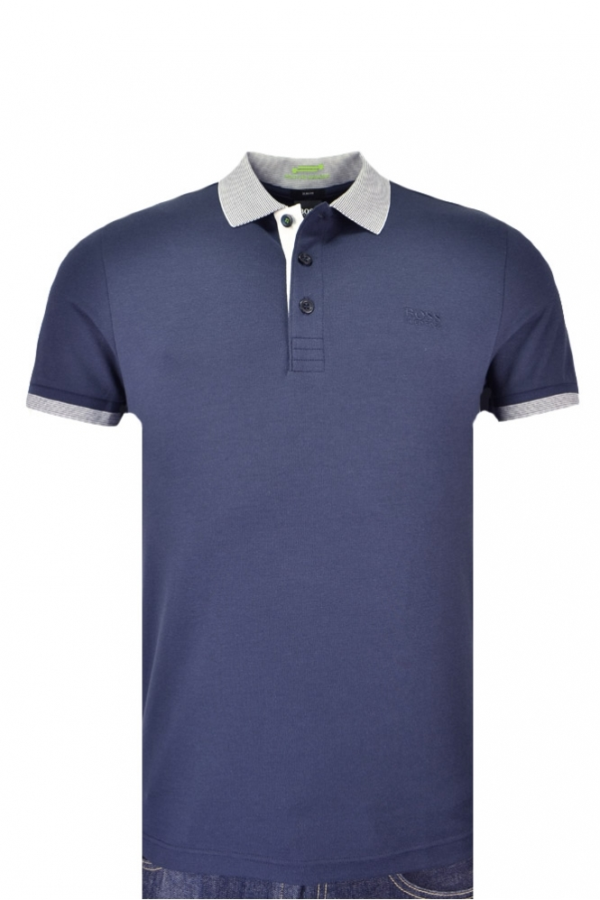 Hugo Boss Green Paule Slim Fit Polo Shirt Navy