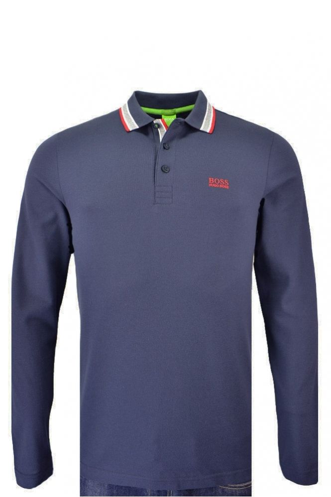 Hugo Boss Green Plisy Long Sleeve Polo Shirt