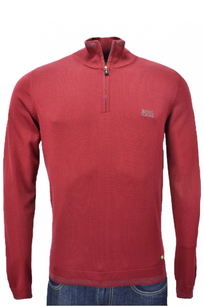4deaf117886 Hugo Boss Green Regular Fit Zime Half Zip Jumper - Clothing from ...