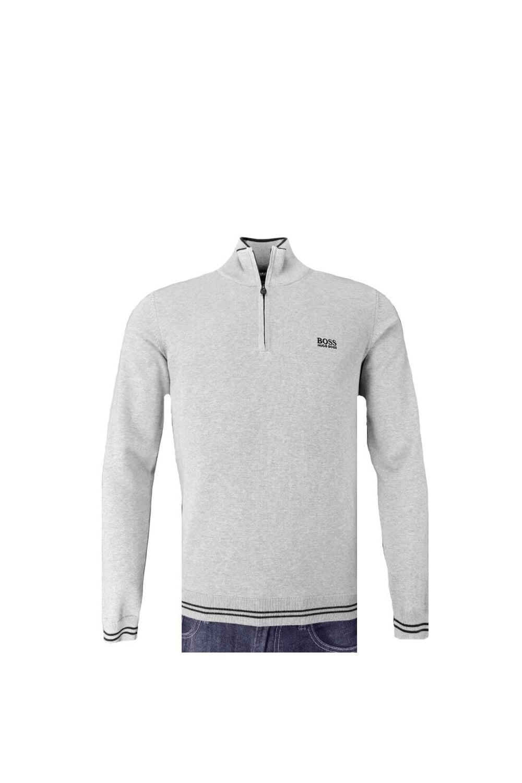 6b5882fe4057 Hugo Boss Green Zime Half Zip Knitwear Light Grey - Clothing from ...