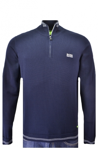 Hugo Boss Green Zime Half Zip Knitwear