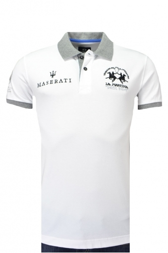 La Martina Maserati Short Sleeve Piquet Stretch Slim Fit Polo Shirt