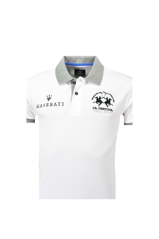 La Martina Maserati Short Sleeve Piquet Stretch Slim Fit Polo Shirt