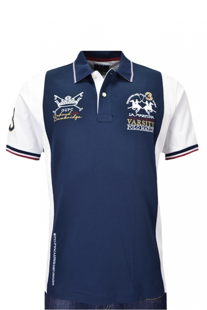 La Martina Short Sleeve Piquet Stretch Polo Shirt