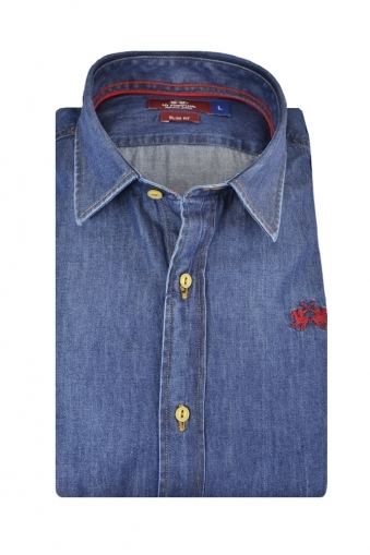 La Martina Slim Fit Long Sleeve Denim Shirt