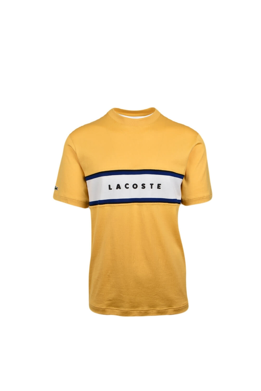 9fbe7441ef65 Lacoste Crew Neck T Shirt Lettered Pique Panel Cotton Yellow Navy Cream