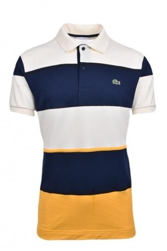 5276441f4574 Lacoste Multi Colour Block Stripe Technical Pique Polo Shirt Cream Navy Gold