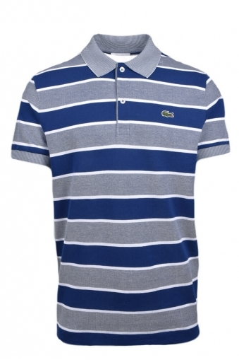 a8670a62 Lacoste Regular Fit Blue Multi Stripe Polo Shirt Blue Multi Stripe