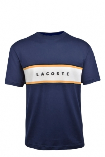 6af9ae194a59 Lacoste Relaxed Fit Crew Neck Pique Panel T Shirt Navy Blue