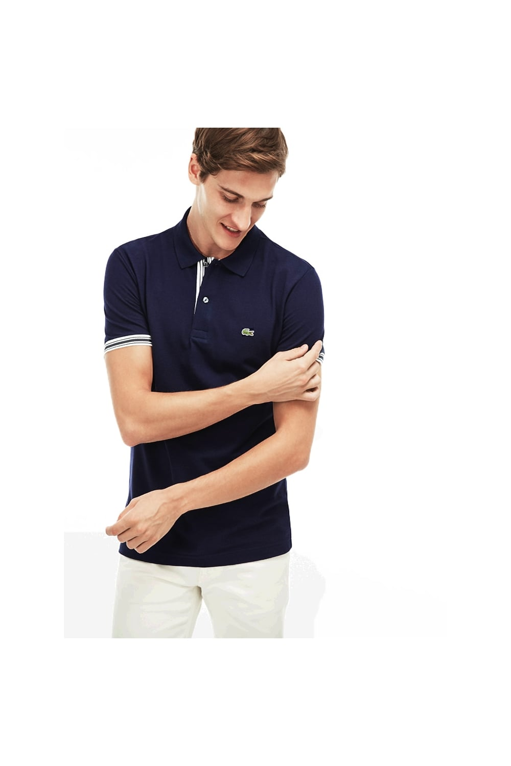 430ad11f1cd7 Lacoste Slim Fit Placket Detail Polo Shirt Navy - Clothing from ...