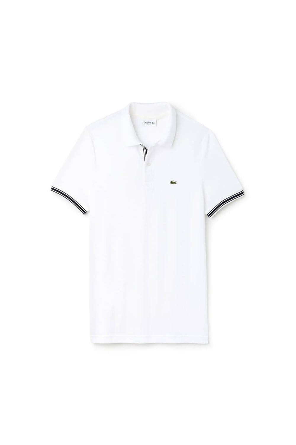 a98e5e755a7 Lacoste Slim Fit Stripe Placket Detail Polo Shirt White - Clothing ...
