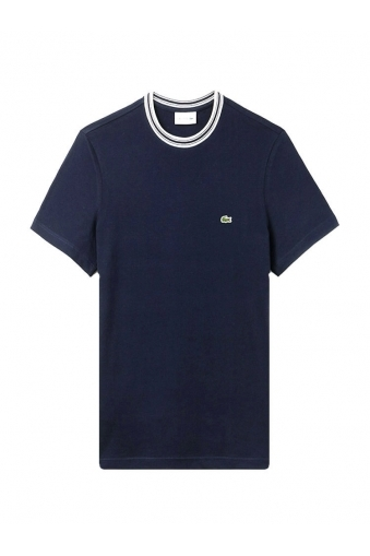 Lacoste Stripe Detail Contrast Collar T-shirt Navy