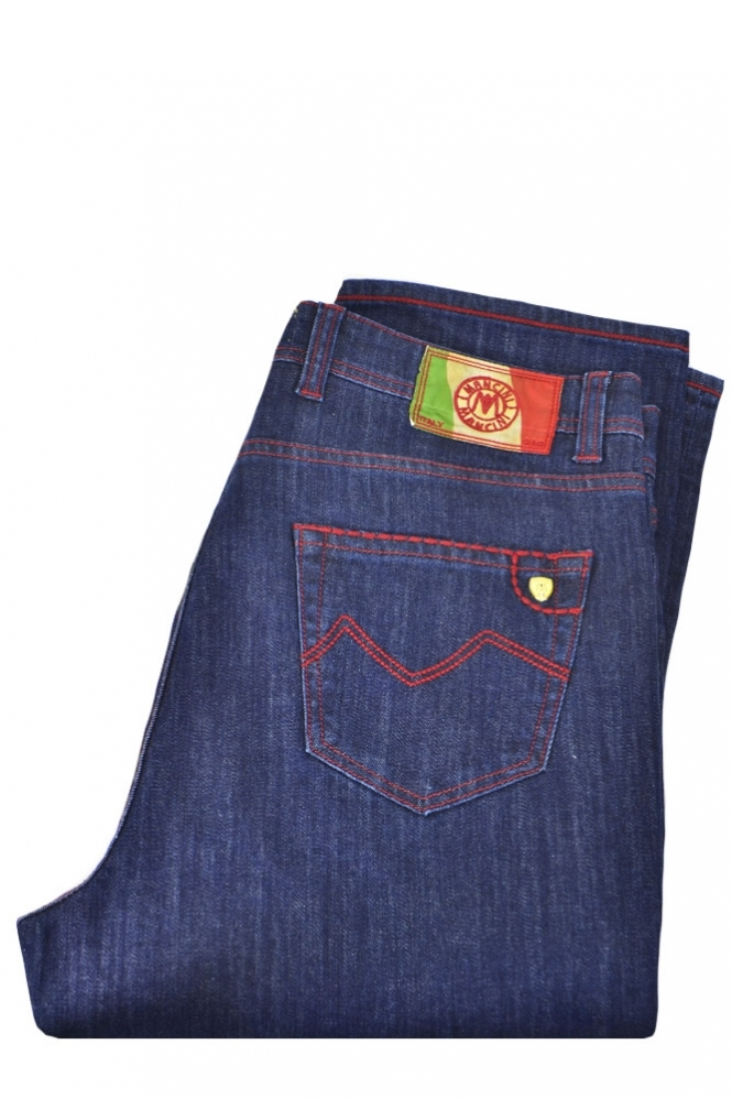 Mancini Tegan Red Stitch Denim Blue Jeans