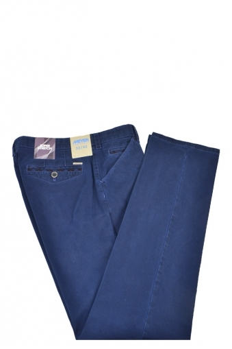 Meyer Chicago Cotton Trousers Deep Blue