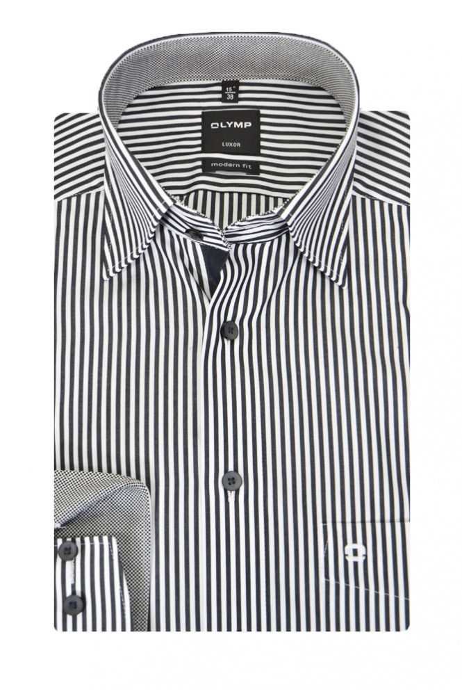Olymp Stripe Shirt Charcoal