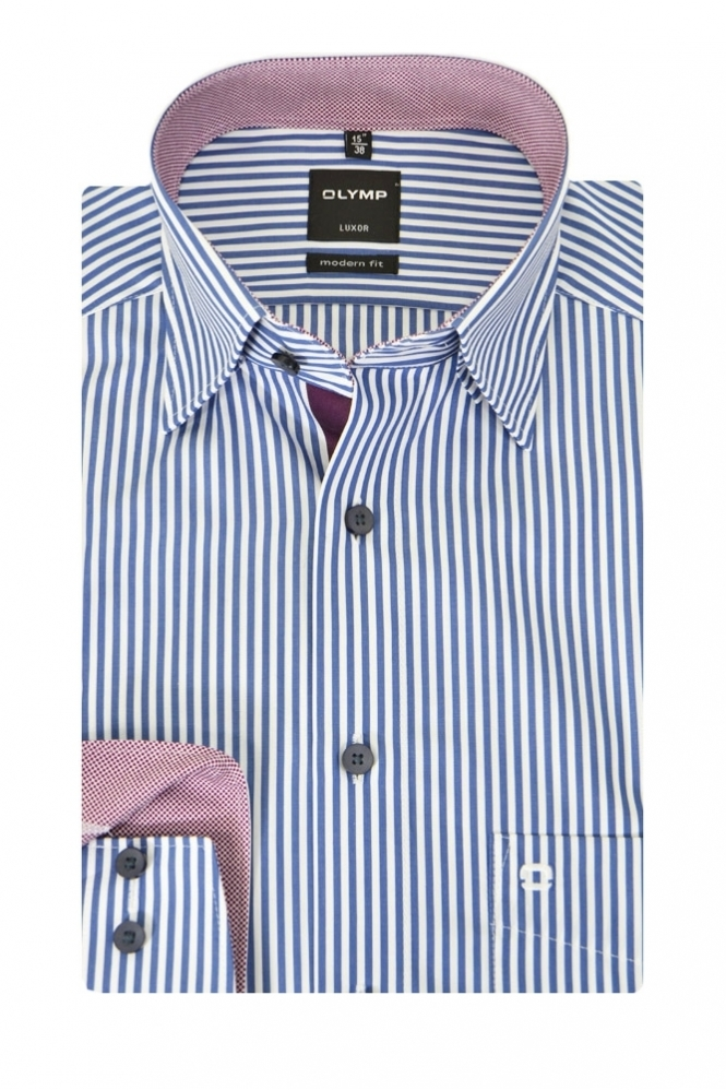 Olymp Stripe Shirt Navy Stripe