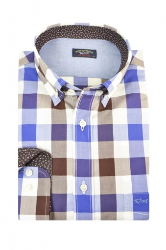 Paul And Shark Button Down Long Sleeve Shirt Blue/Brown Multi Check