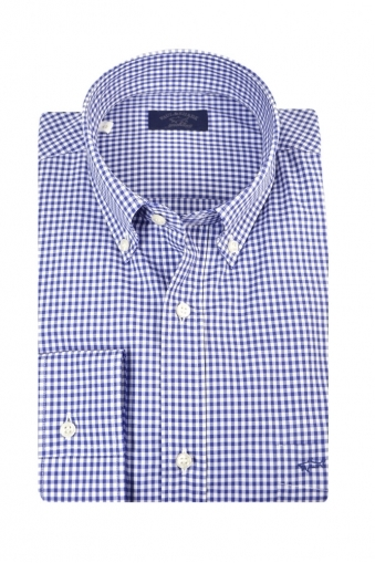Paul And Shark Button Down Long Sleeve Shirt Blue Check