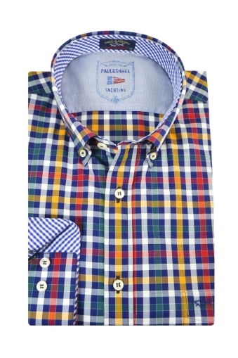 Paul And Shark Button Down Long Sleeve Shirt Multi Check