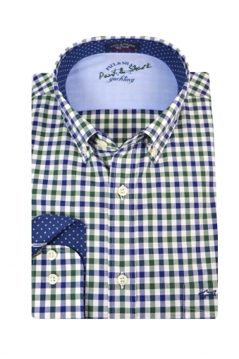 Paul And Shark Button Down Long Sleeve Shirt Navy/Green Check