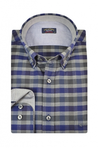 Paul And Shark Button Down Long Sleeve Shirt Navy/Grey Check
