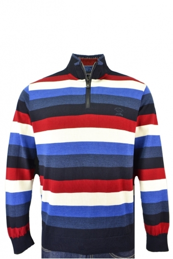 Paul And Shark Knitted Half Zip Multi Stripe