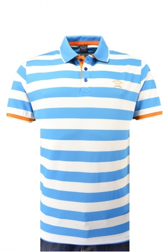Paul And Shark Large Fit Polo Shirt Turquoise Stripe
