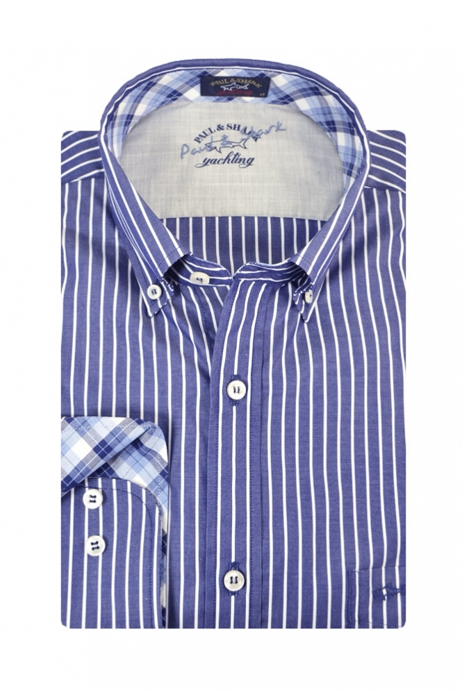 Paul & Shark Paul And Shark Regular Fit Button Down Long Sleeve Shirt Navy & White Stripe