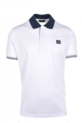 0824830cc07d Paul And Shark Regular Fit Contrasting Colour Polo Shirt White