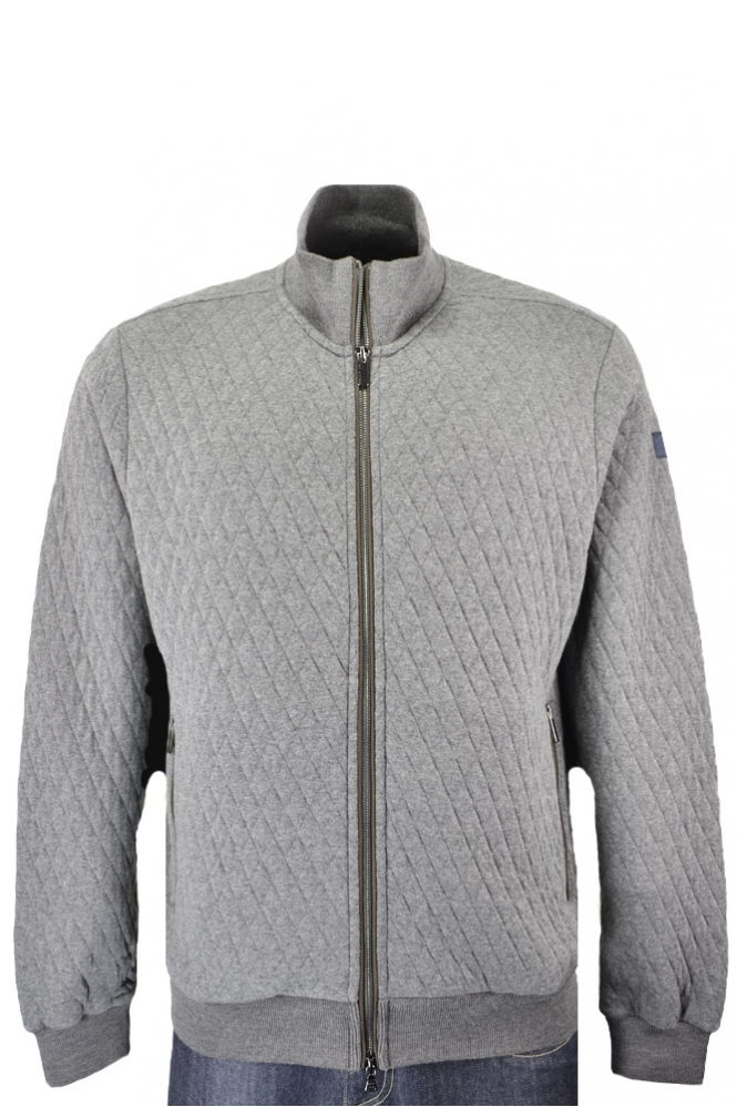 Paul & Shark Paul And Shark Regular Fit Diamond Quilted Full Zip Fleece Grey