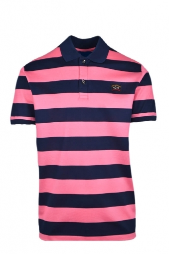 c0ccbdddb6 Paul And Shark Regular Fit Organic Cotton Polo Shirt Navy/Pink Stripe