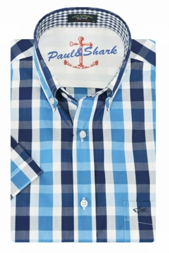 Paul And Shark Short Sleeved Shirt Blue Check