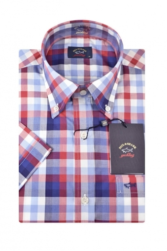 Paul And Shark Short Sleeved Shirt Blue/Red Check