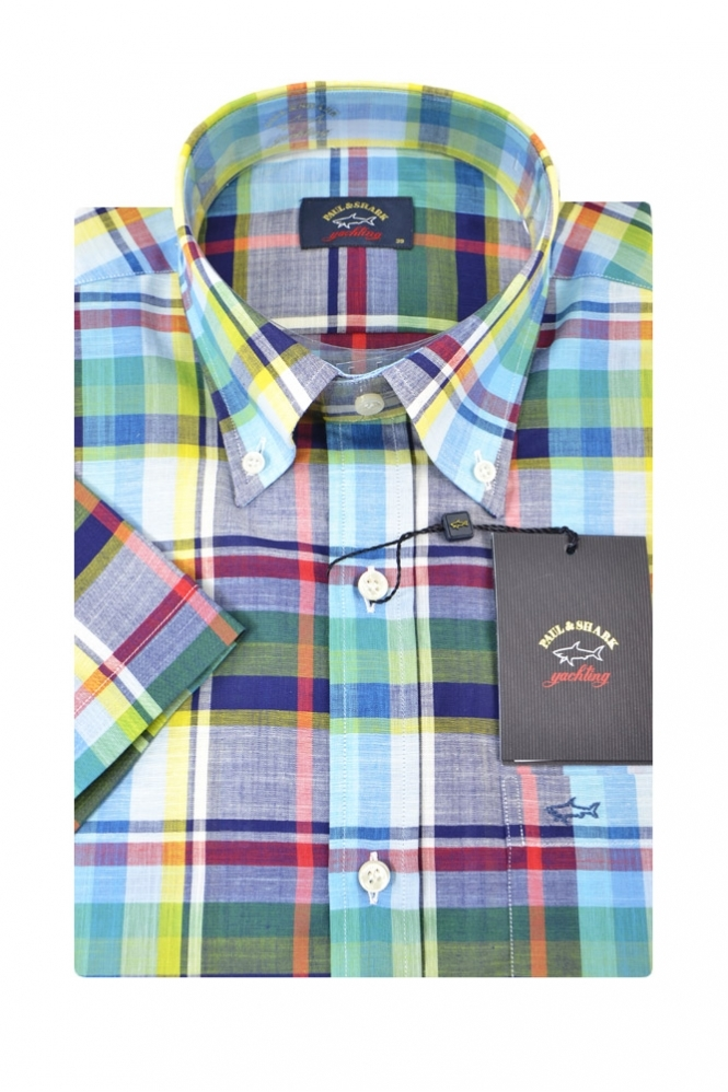 Paul & Shark Paul And Shark Short Sleeved Shirt Multi Coloured Broad Check