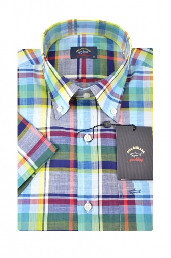 Paul And Shark Short Sleeved Shirt Multi Coloured Broad Check