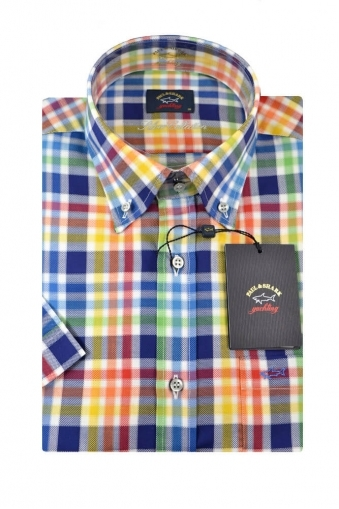 Paul And Shark Short Sleeved Shirt Multi Coloured Check