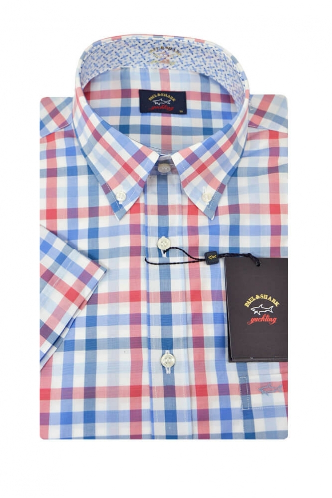 Paul & Shark Paul And Shark Short Sleeved Shirt Red/Blue Check