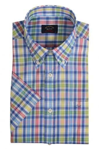 0c639ea86a Paul And Shark Short Sleeveshirt Blue Yellow Multi Check