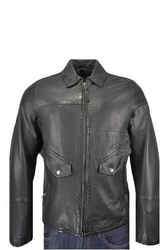 Pretty Green Leather Zip Through Jacket Black