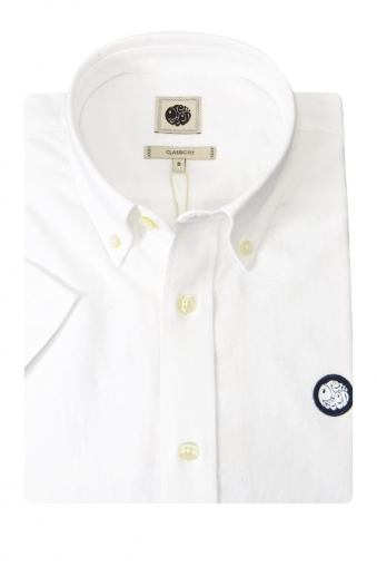 Pretty Green Short Sleeve Oldbury Oxford Shirt White