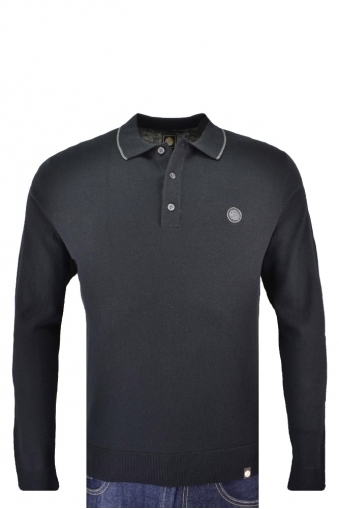 Pretty Green Tilson Long Sleeve Knitted Polo Shirt