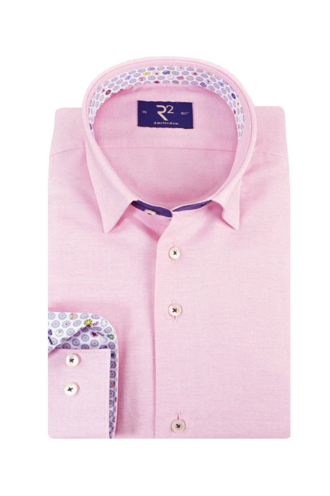 R2 Button Under Collar Long Sleeved Shirt Pink