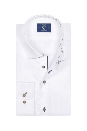 a94f3a333 R2 Cut Away Collar Long Sleeve Shirt White/Navy/Yellow Trim