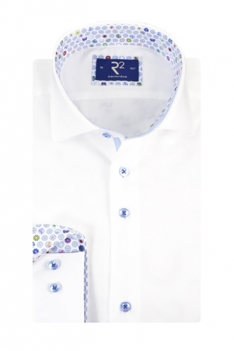 R2 Cut Away Collar Long Sleeved Shirt White/Floral