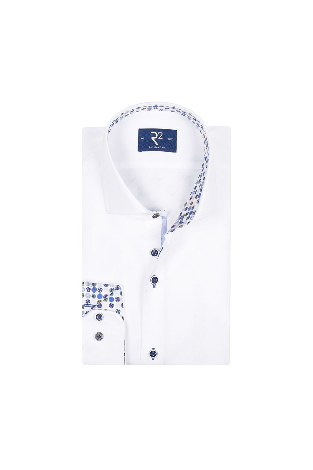 30bfc066ade3e2 R2 Long Sleeve Shirt White/Floral Trim - Clothing from Michael ...