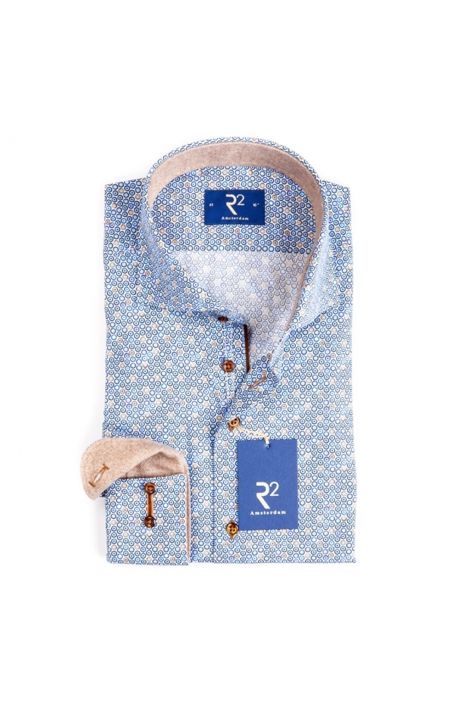 R2 Westbrook Long Sleeve Shirt Blue Patterned