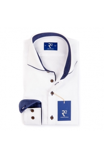 R2 Westbrook Long Sleeve Shirt White With Navy Piping